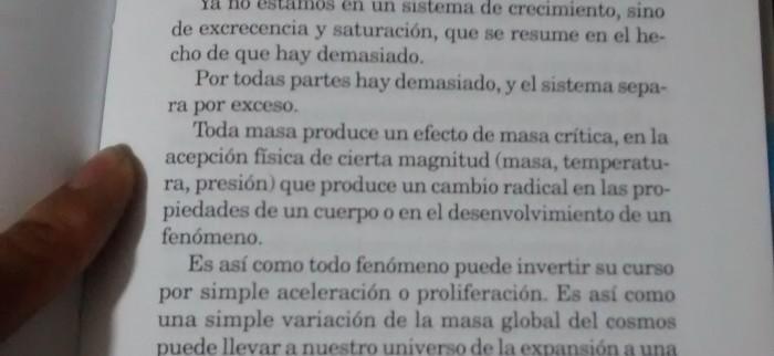 """Página 187, """"El pacto de lucidez o la Inteligencia del Mal"""", Baudrillard."""